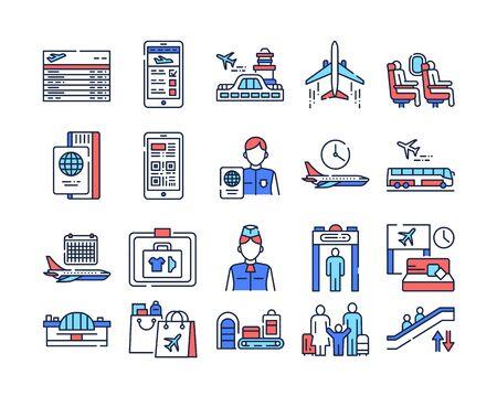 Airport service color line icons set. International flights. Pictograms for web page, mobile app, promo. UI UX GUI design elements. Editable stroke Illustration