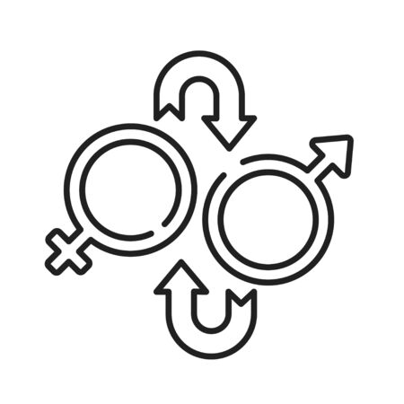 Sex reassignment surgery black line icon. Transgender operation to change gender concept. Sign for web page, mobile app, social media. Editable stroke