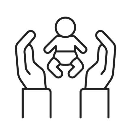 Child adoption black line icon. Hand holding baby, childcare concept. Not traditional family. Lesbian and Gay parents. Sign for web page, mobile app. Editable stroke Stock Vector - 139989170