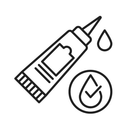 Waterproof glue black line icon. Water repellent absorbing substance concept. Impermeable adhesive tube sign. Pictogram for web page, mobile app, promo. UI UX GUI design element