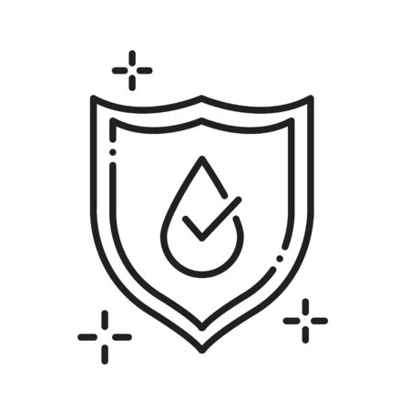 Waterproof black line icon. Water repellent coating concept. Impermeable protection, safety, barrier sign. Pictogram for web page, mobile app, promo. UI UX GUI design element Illustration