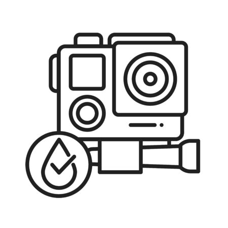 Waterproof action camera black line icon. Water repellent electronic device concept. Pictogram for web page, mobile app, promo. UI UX screen. User interface display. Editable stroke Stock Vector - 139989169