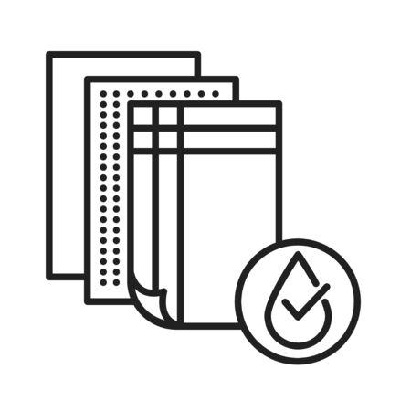 Waterproof fabric black line icon. Water repellent textile concept. Impermeable material sign. Pictogram for web page, mobile app, promo. UI UX GUI design element Ilustração