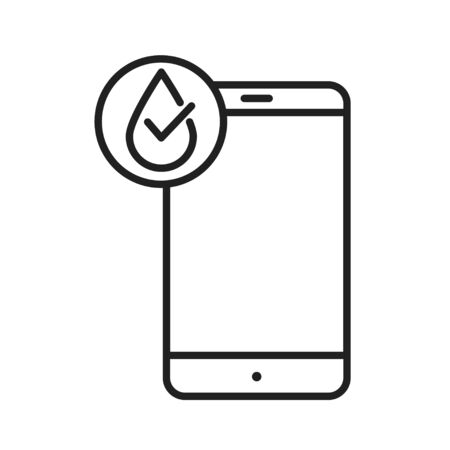Waterproof smartphone black line icon. Water repellent technology concept. Pictogram for web page, mobile app, promo. UI UX screen. User interface display. Editable stroke