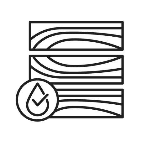 Waterproof wood flooring black line icon. Water repellent material concept. Impermeable DWR tile, laminate sign. Pictogram for web page, mobile app, promo. UI UX GUI design element Illustration