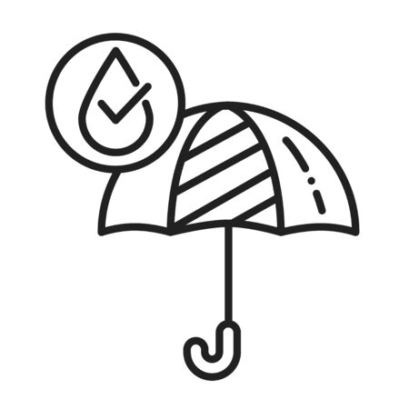 Waterproof open umbrella black line icon. Water repellent fashion accessory concept. Impermeable tool sign. Pictogram for web page, mobile app, promo. UI UX GUI design element