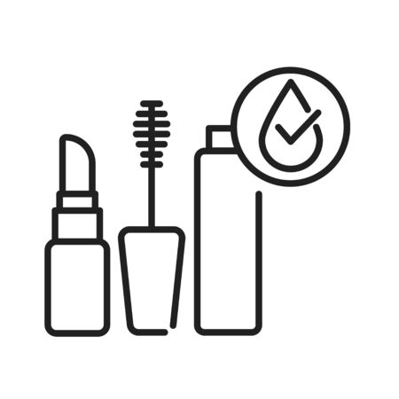 Waterproof cosmetic black line icon. Water repellent mascara and lipstick concept. Make up protection sign. Pictogram for web page, mobile app, promo. UI UX GUI design element Illustration