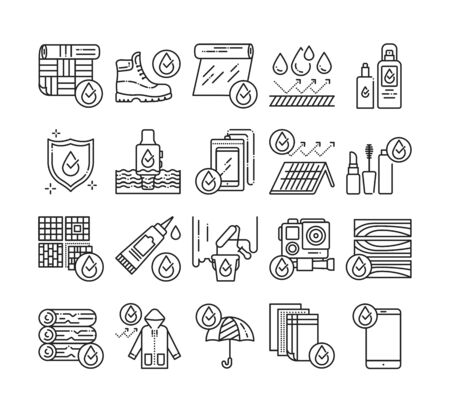 Waterproof tools black line icons set. Water repellent coating constructions materials, devices, clothes, cosmetics, concept. Pictograms for web page, mobile app, promo. UI UX GUI design element