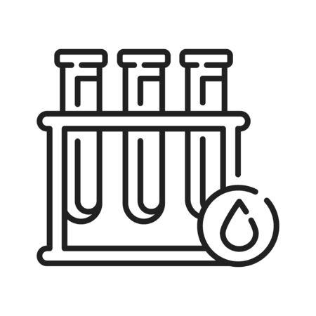 Blood in test tube black line icon. Medical and scientific concept. Laboratory diagnostics. Pictogram for web, mobile app, promo. UI UX design element. Editable stroke