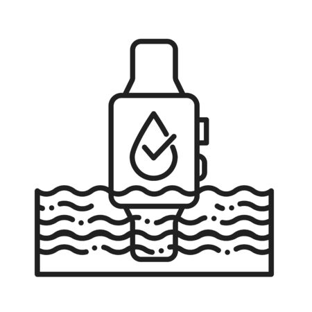 Waterproof smart watch black line icon. Water repellent device concept. Innovation technology. Pictogram for web page, mobile app, promo. UI UX GUI design element Stock Vector - 139989182