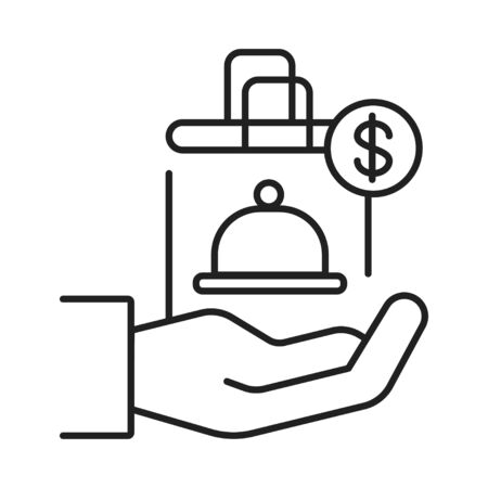 Food delivery line black icon. Hand holding package. Sign for web page, mobile app, button . Vector isolated button. Editable stroke Illustration