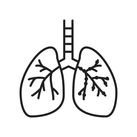Asthma line black icon. Inflammatory process lungs. Human organ concept. Sign for web page, mobile app, button, logo. Vector isolated element. Editable stroke
