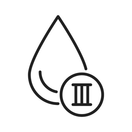 3 blood group black line icon. Donation, charity concept. Blood banking transfusion. Pictogram for web, mobile app, promo. UI UX design element. Editable stroke Illustration