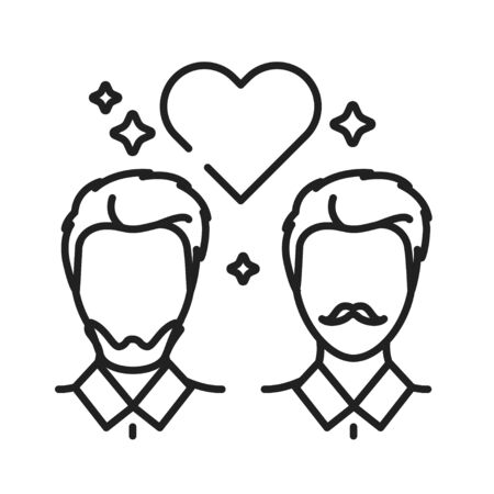 Gay relationship black line icon. Homosexual orientation concept. Rainbow free love. LGBT motion symbol. Human rights and tolerance. Illustration