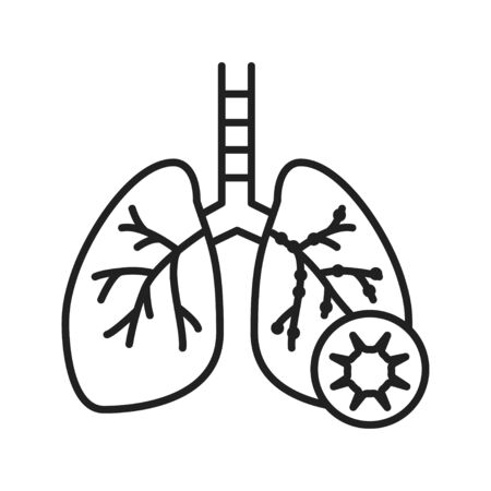 Bronchitis line black icon. Inflammatory process lungs. Human organ concept. Sign for web page, mobile app, button, logo. Vector isolated element. Editable stroke