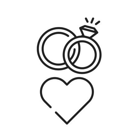 LGBT wedding black line icon. Same-sex family. Rainbow free love concept. Gay, lesbian marriage. Illustration