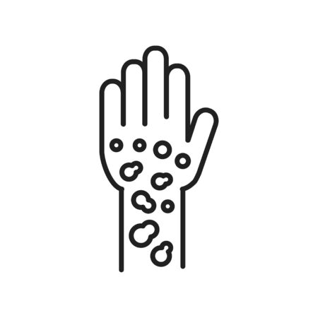 Psoriasis, dermatitis line black icon. concept. Skin rash. Dermatological diseases. Itchy spots on hand. Sign for web page, mobile app, button. Vector isolated element. Editable stroke