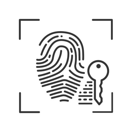 Fingerprint scan provides security access black line icon. ID and verifying, person. Concept of: authorization, scientific technology, scanning. Biometric identification Illustration