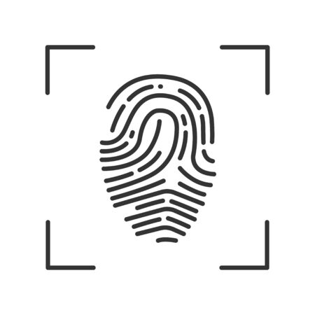 Fingerprint scan provides security access black line icon. ID and verifying person. Concept of: authorization, dna system, scientific technology, scanning. Biometric identification element