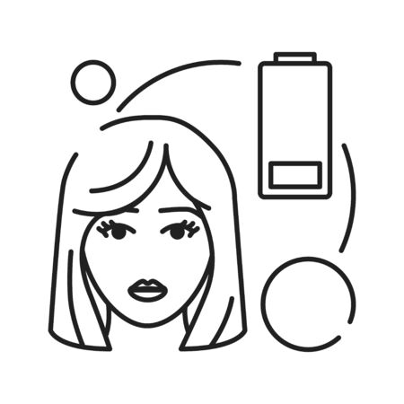 Early pregnancy symptoms fatigue black line icon. Tiredness. Pregnant blond woman concept. Sign for web page, mobile app, banner, social media. Editable stroke Illustration