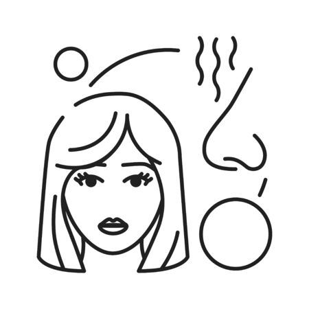Early pregnancy symptoms increased sense of smell black line icon. Pregnant blond woman concept. Motherhood and healthcare. Sign for web page, mobile app, banner, social media. Editable stroke