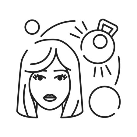 Weight gain black line icon. Early pregnancy symptom. Pregnant blond woman concept. Sign for web page, mobile app, banner. Editable stroke