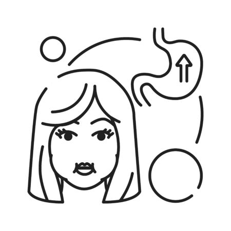 Early pregnancy symptoms nausea black line icon. Morning illness toxicosis. Pregnant blond woman concept. Sign for web page, mobile app, banner, social media. Editable stroke