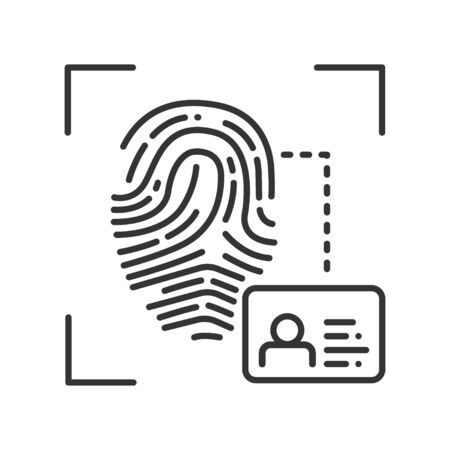 Fingerprint scan provides security access black line icon. ID and verifying, person. Concept of: authorization, dna system, scientific technology, scanning. Biometric identification