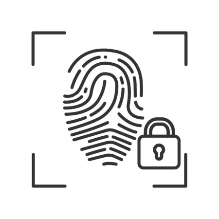 Finger print scan private protection or locked black line icon. Blocked user account, private, safe or secure data, access denied. Biometric identification