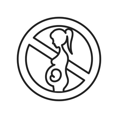 Abortion black line icon. Fetal death, miscarriage concept. Women's health problems infertility. Sign for web page, mobile app, banner, social media. Editable stroke Stock Photo - 139989887