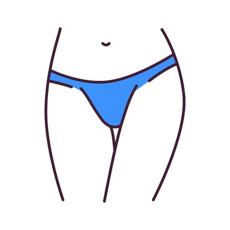 Underpants tonga lingerie color line icon. A type of panties with sides that extend lower down the hips. Pictogram for web page, mobile app, promo. UI UX GUI design element. Editable stroke. Illustration