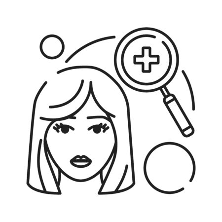 Medical check, diagnosis black line icon. Early pregnancy symptom. Pregnant blond woman and magnifier concept. Sign for web page, mobile app, banner. Editable stroke