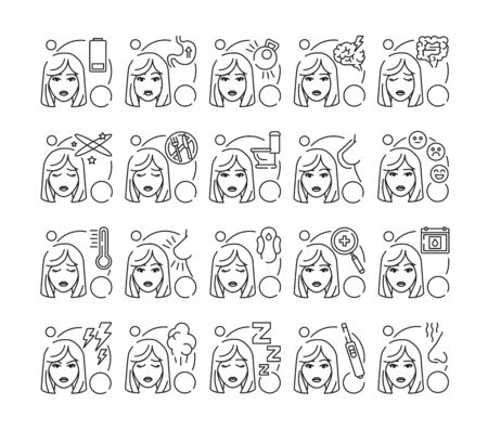 Early pregnancy symptoms black line icons set. Fatigue, stomach problems, delay menstruation. Blond pregnant woman with mood swings concept. Sign for web page, mobile app, banner, social media