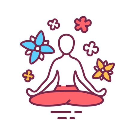 Yoga pose color line icon. Asana. Body posture, originally and still a general term for a sitting meditation pose. Pictogram for web page, mobile app, promo. UI UX GUI design element. Editable stroke