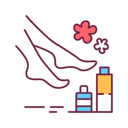 SPA foot treatments color line icon. Cleanse, exfoliate, and hydrate the skin on foot. Pictogram for web page, mobile app, promo. UI UX GUI design element. Editable stroke