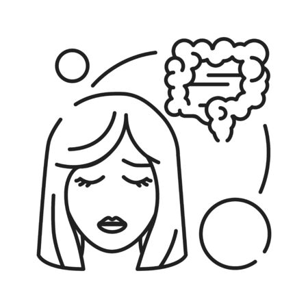 Early pregnancy symptoms: diarrhea, pain, abdominal distension line black icon. Pregnant blond woman concept and stomachache.