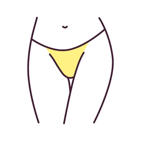 Underpants thongs lingerie color line icon. A type of panties with sides that extend lower down the hips. Pictogram for web page, mobile app, promo. UI UX GUI design element. Editable stroke Illustration