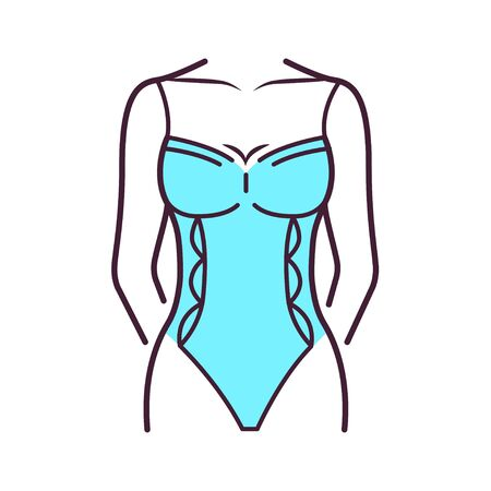 Women's bodysuit lingerie color line icon. Shorthand body is a one-piece form-fitting, and or skin-tight garment that covers the torso and the crotch. Pictogram for web page, mobile app, promo. UI UX GUI design element. Editable stroke.