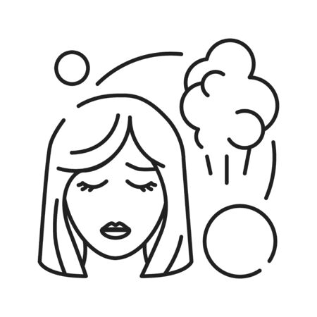 Early pregnancy symptoms fart black line icon. Sickness and illness: bloating and flatulence. Pregnant blond woman concept. Sign for web page, mobile app, banner, social media. Editable stroke Illustration