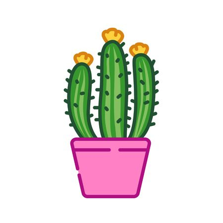 Cactus with flower in pot color line icon. Can be used in interior for decoration. Pictogram for web page, mobile app, promo. UI UX GUI design element.