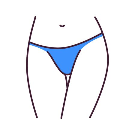 Underpants tanga lingerie color line icon. A type of panties with sides that extend lower down the hips. Pictogram for web page, mobile app, promo. UI UX GUI design element.
