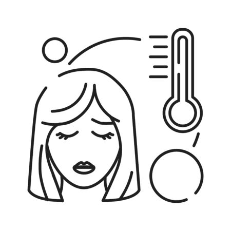 Hight temperature, fever black line icon. Early pregnancy symptom. Pregnant blond woman and thermometer concept. Diseases, influenza. Sign for web page, mobile app, banner. Editable stroke Stock Vector - 139990129