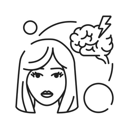 Headache black line icon. Early pregnancy symptom. Pregnant blond woman and brain concept. Disease, illness, migraine. Sign for web page, mobile app, banner. Editable stroke Illustration