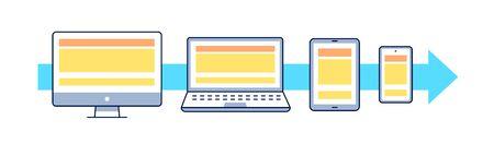 Adaptive web design flat vector illustration. Outline icons: smartphone, tablet, laptop, pc. UI UX GUI design element