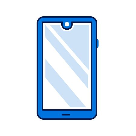 Smartphone with screen, menu button and camera color line icon. Front view. Electronic device. Pictogram for web page, mobile app, promo. Editable stroke