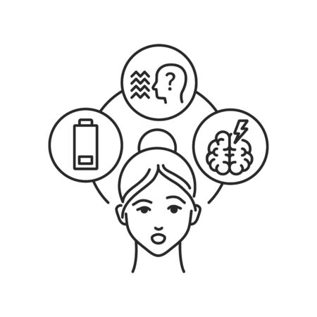 Schizophrenia black line icon. Insane person. Mental disorders. Symptoms: fatigue, hallucinations, thinking disorders. Pictogram for web page. Vector isolated illustration