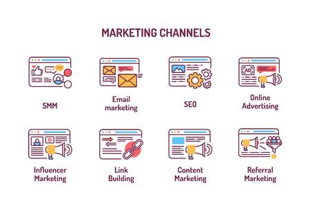 Marketing channels color line icons, SMM, email marketing, SEO, online advertising. Digital marketing. Pictograms for web page, mobile app, ad
