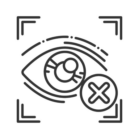 Cancelled eye identification black line icon. Access denied for user concept. Error, fraud. Biometric security element. Sign for web page, mobile app, banner. Editable stroke