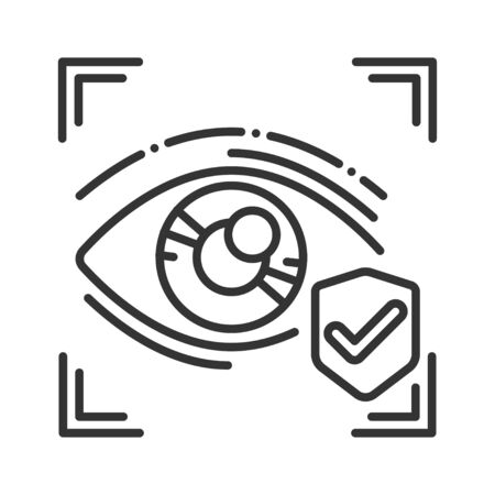 Eye identification black line icon. ID and verifying person. Approved protection. Concept of: dna system, scientific technology, scanning. Biometric security element. Sign for web page, mobile app