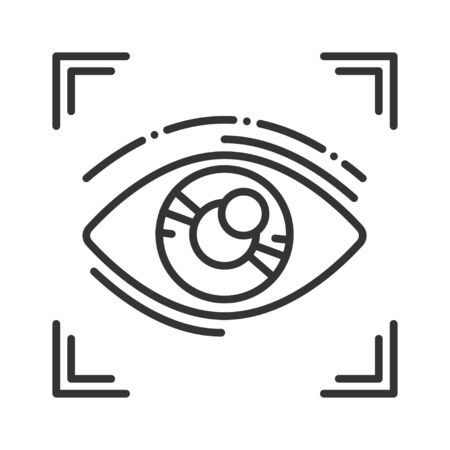 Eye identification black line icon. ID and verifying person. Concept of: dna system, scientific technology, scanning. Biometric security element. Sign for web page, mobile app Ilustración de vector